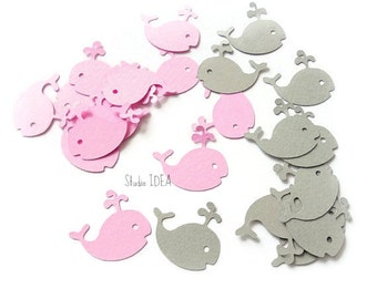 60 Mixed Pink & Grey Baby Whale Cut outs, Whale Confetti-Set of 60 pcs