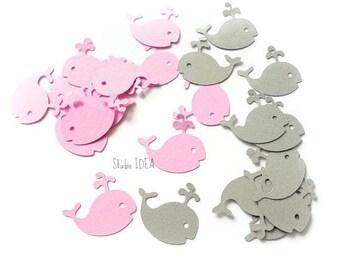 60 mixte rose & gris bébé baleine Cut Out, baleine Confetti-lot de 60 pièces