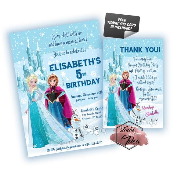 thank you card Pricess Anna Elsa Frozen Digital Party invitation birthday