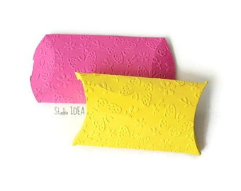 12 Yellow & Hot Pink Butterfly Embossed Pillow Boxes-Candy Box, Favor Box, Gift Box-Set of 12pcs
