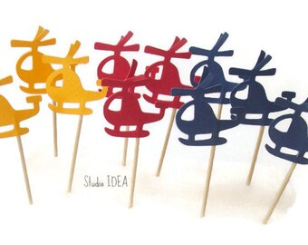 24  Primary Colors Helicopter Cupcake Toppers, Helicopter double-sided Red-Yellow-Blue picks or CHOOSE YOUR COLORS - Set of 24 pcs
