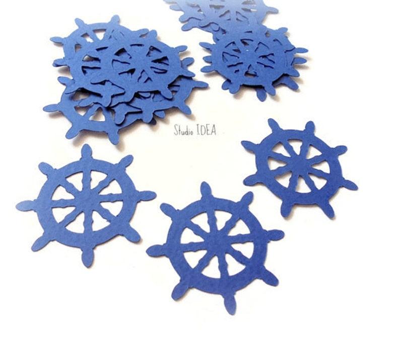 40 Navy blue Ship Wheel Cut outs Die cut Confetti Embellishments or CHOOSE YOUR COLORS Set of 40 pcs