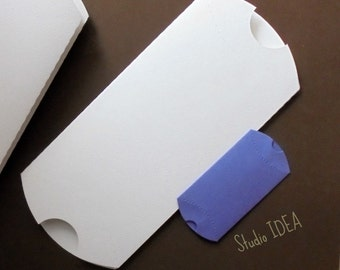 6 Extra Large White  Pillow Boxes-Candy Box, Favor Box, Gift Box  or CHOOSE YOUR COLORS-Set of 6pcs