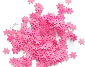 200  Pink  mini Flower Confetti, Cut-outs, or Choose your Colors- Set of 200 pcs