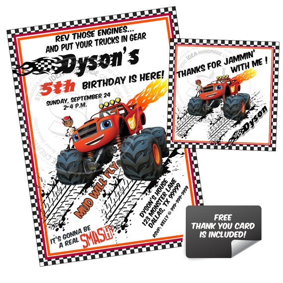 image relating to Monster Truck Birthday Invitations Free Printable titled Monster Truck Occasion Printable Invitation with Free of charge Thank by yourself