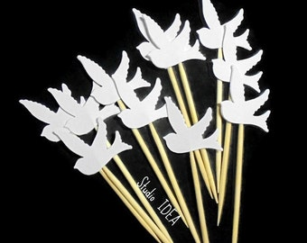 24 White Dove Cupcake Toppers, Food Picks-or Choose Your Colors-Set of 24 pcs