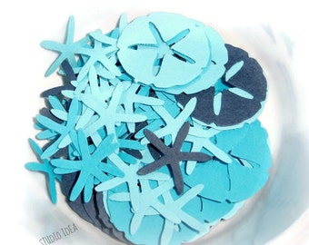 Mixed Blue Sand Dollar & StarFish Cut outs, Confetti - Set of 120, 250pcs- or Choose Your Colors