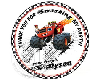 "Custom Stickers- Monster Truck Thank you Birthday 2.5"" STICKERS-Red-Black Racing cars 2.5"" Stickers"