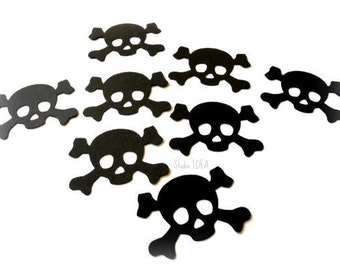 "2"" Black Pirate Skull with Bones Cut outs, Confetti - Set of 50pcs, 100pcs"