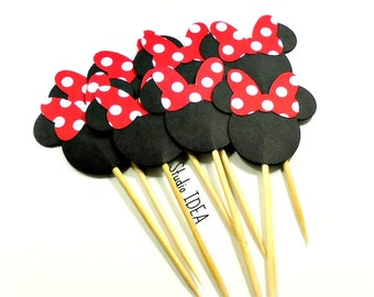 Minnie Head with large Red-White polka dots Bow- Double sided Minnie Head Cupcake Toppers- Minnie Bow, Set of 12pcs, 25pcs
