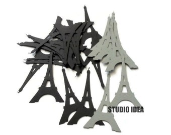 "Black & Grey  2.5"" Eiffel Tower Cut outs, Confetti-Vintage Cut outs- or Choose Your Colors-Set of 40pcs, 80pcs, 120pcs"