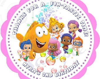 """Custom Bubble Guppies Printable 2.5"""" Tags-Personalized Birthday 2.5 inches Tags- Stickers- DIY -Bubble Guppies Party Favor Tags"""