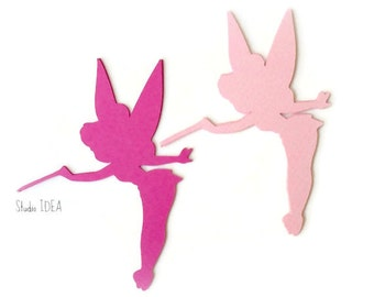 Mixed Pink Tinkerbell 6 inches tall Cut outs, Die cut - Set of 8 pcs - or Choose Your Colors