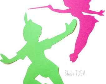 Mixed Pink Tinkerbell & Bright Green Peter Pan 12 inches tall Die cut - Set of 4 pcs - or Choose Your Colors