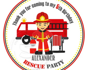 """Custom Fireman Birthday Printable 2.5"""" Tags- Firemen Party D.I.Y Thank you Tags- Personalized Stickers (You Print) 2.5"""" tags-Digital file"""