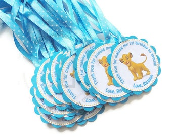 Customized Simba Thank you Scallop Tags with or without Ribbon- Sets of 12pcs, 24pcs