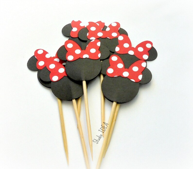 Set of 12pcs 25pcs Double sided Minnie Head Cupcake Toppers Minnie Head with large Red-White polka dots Bow Minnie Bow