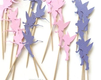 24 Pink & Lavender Purple Tinkerbell Food Picks, Cupcake Toppers - Set of 24 pcs - or Choose Your Colors