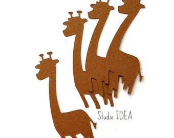 Brown 2in Giraffe Confetti, Cut-outs, Giraffe decoration, Embellishments - Set of 60,120,200 pcs - or Choose Your Colors