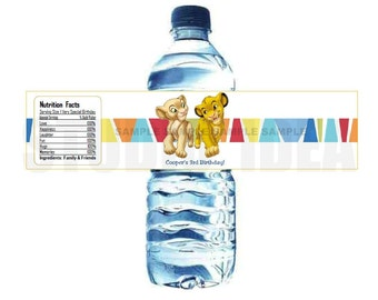 Custom Simba & Friends Printable Water Bottle Labels-Personalized Tags, DIY (You Print) Water Bottle Label