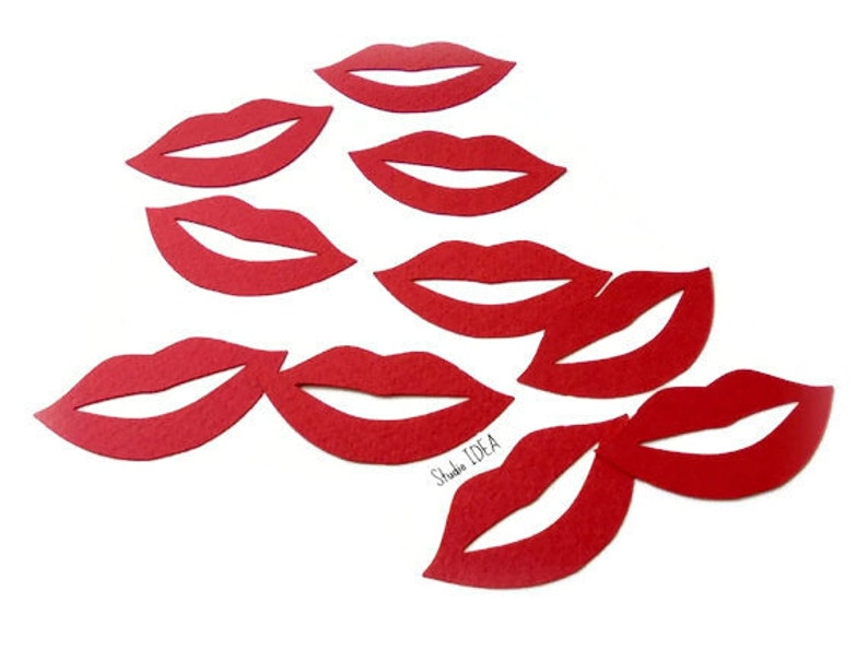 Set of 60pcs or Choose Your Colors 120pcs 2 Red Lips Mouth Cut outs Confetti