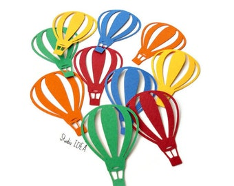 Primary Colors Hot air Balloons Cut outs, Die cut, Confetti, Embellishments or CHOOSE YOUR COLORS
