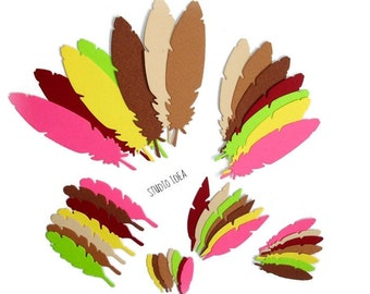 Paper Feather Die cut Embellishments- Choose Your Colors- 6 Different sizes Paper Feather Embellishment
