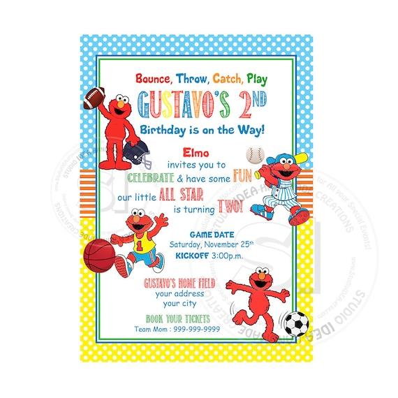 Elmo Sports All Star Printable Invitation Personalized Elmo