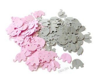 120 Mixed Pink & Grey  Elephant Cut outs, Confetti - Set of 120 pcs