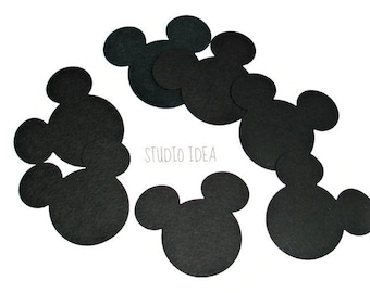 "3"" Black Mickey Head Cut outs - Minnie Head Cut outs -Black Cut outs or Choose Your Colors-Set of 30pcs, 60pcs"