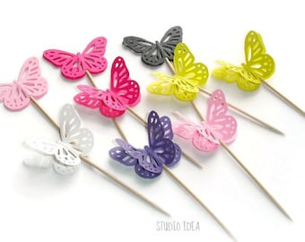 Large double-sided Monarch Butterfly Cupcake Toppers, Food Picks-Set of 12 pcs- Choose Your Colors