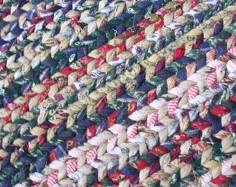 Multicolor Flannel Twined Rag Rug Rectangular