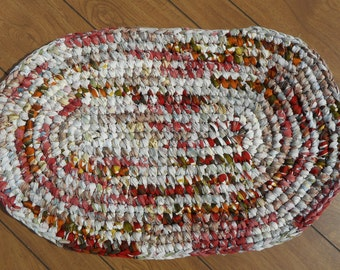 Sturdy crocheted rag rug in Harvest colors 4102017