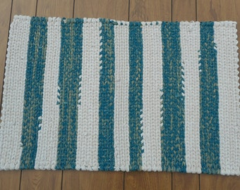 Teal, Tan and White Rectangular Striped Twined Rag Rug