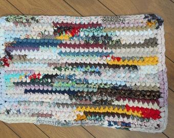 "Rectangular multicolored ""scrappy"" crocheted rag rug (20170630-6)"