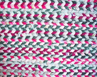 Vibrant Pink, Greens and Purple rectangular twined rag rug