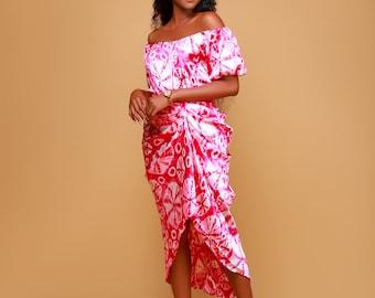 Ankara Satin High waisted skirt - Pink