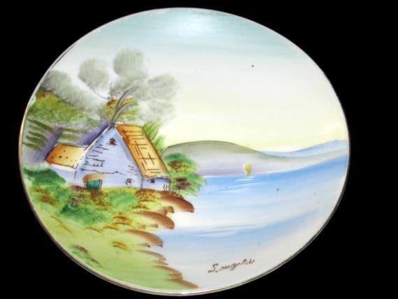 Enjoyable Vintage Collector Plate Hand Painted Plate Signed Plate Lake House Plate Collectible Plate Home Decor Vintage Collector Plate Download Free Architecture Designs Rallybritishbridgeorg