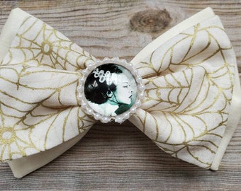 Bride of Frankenstein Hair Bow Clip, Classic Hair Bows for Teens and Women