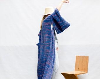 Kimono Robe / Royal blue damask silk / Kimono / Silk robe