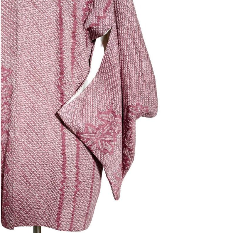 A Purple Silk  Kimono Jacket with Shibori Details