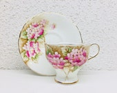 Vintage Paragon Pink Hydrangea Teacup and Saucer Paragon Corset Cup and Saucer Double Warrant Paragon 1950 39 s