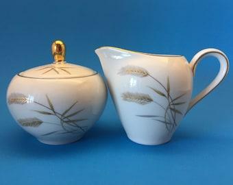 Bavaria Creamer and Sugar Bowl, Wheat Design, Johann Seltmann Vohenstrauss, Western Germany