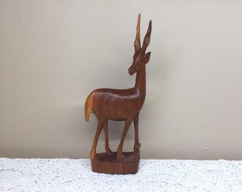 Vintage Wooden Antelope Sculpture Figurine, Wooden Gazelle, Farmhouse Cabin Decor
