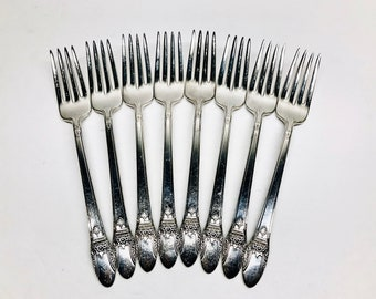 """mono /""""L/"""" S First Love silverplate rogers Dinner Fork"""