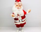 Mid Century Rubber Face Santa White Boots 1960 39 s Japan Felt Santa 16 quot Tall Vintage Christmas Ornament FREE US SHIPPING