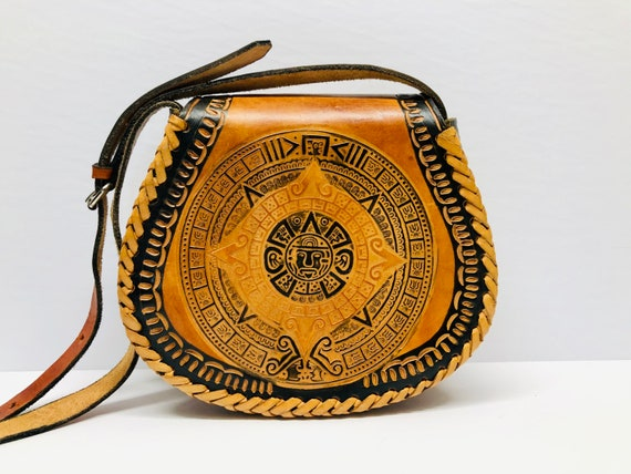 Vintage Tooled Leather Boho Purse Mayan Calendar M