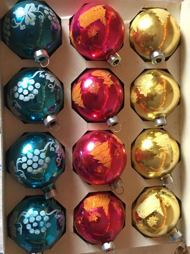 Vintage Glass Christmas Balls Box of 12 Assorted Vintage Glass Christmas Ornaments Coby USA