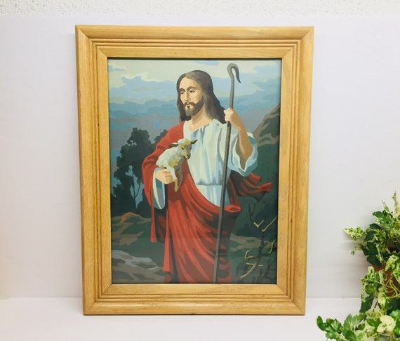 Vintage Paint By Number Jesus With Lamb And Staff 1960 S Framed Vintage Pbn Under Glass