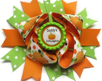 3e7961b0f37 Daddy s Lil Pumpkin Hair Bow